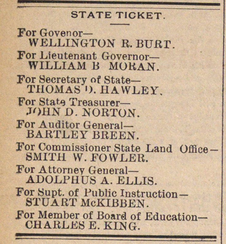 STATE TICKET. For Govenor- WELLINGTON R.... image