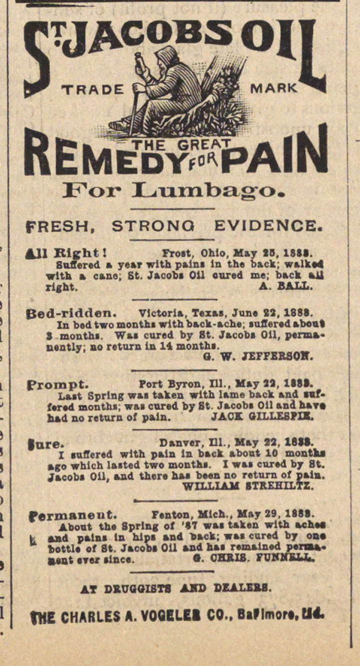 St. Jacobs Oil Trade Mark The Great Remedy For Pain image