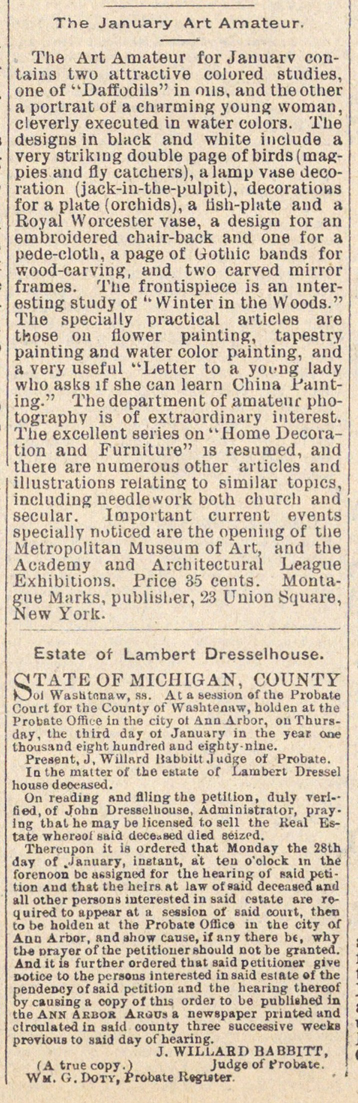 The January Art Amateur and Estate of Lambert Dresselhouse image