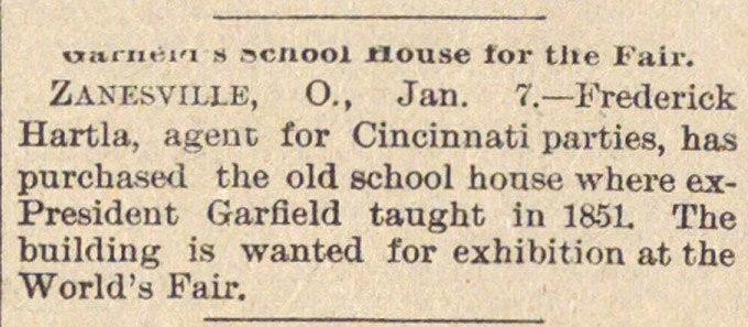 Garfield's School House For The Fair image