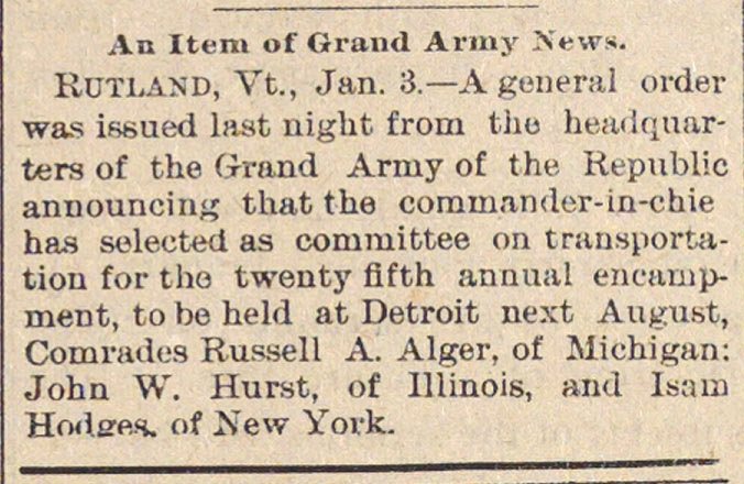 An Item Of Grand Army News image