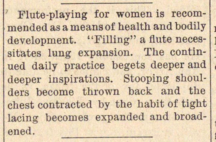 Flute-playing for women is recommended a... image