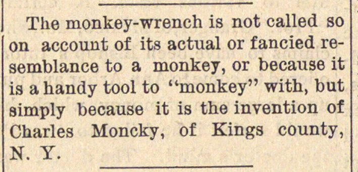 The monkey-wrench is not called so on ac... image