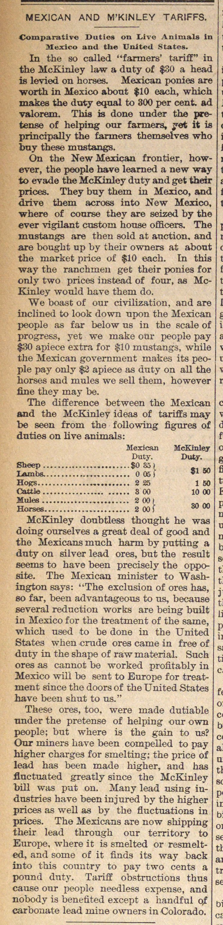 Mexican And M'kinley Tariffs image