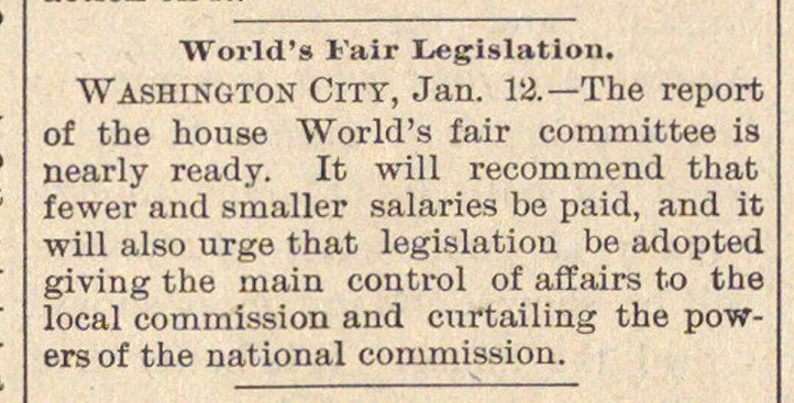 World's Fair Legislation image