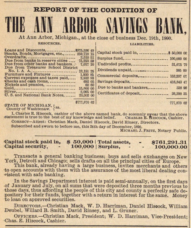 Report Of The Condition Of The Ann Arbor Savings Bank image
