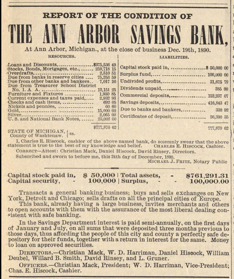 Report Of The Condition Of The Ann Arbor Savings Bank   Iii image