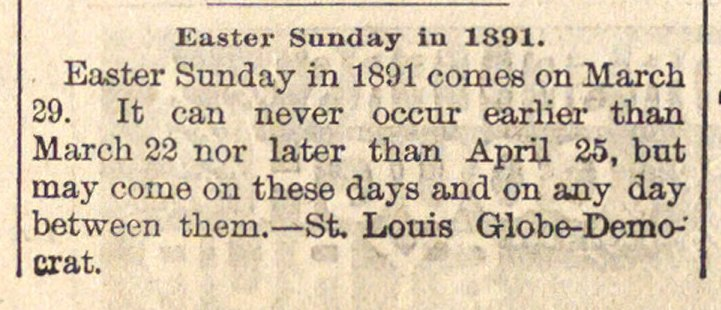 Easter Sunday In 1891 image