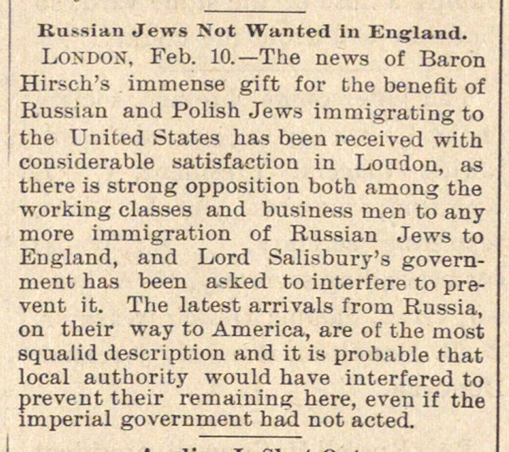Russian Jews Not Wanted In England image