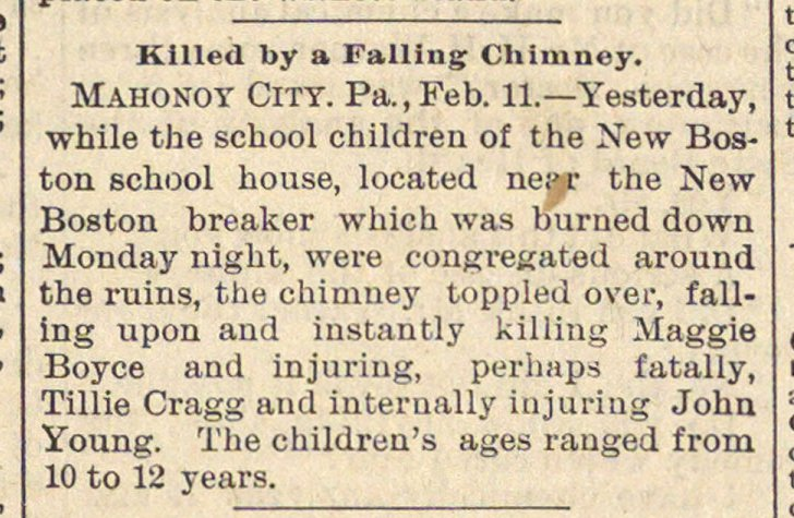 Killed By A Falling Chimney image
