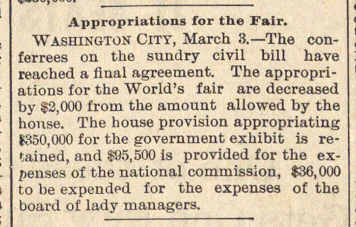 Appropriations For The Fair image