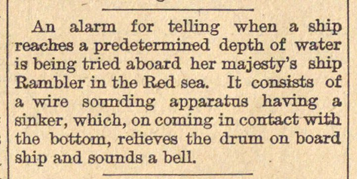 An alarm for telling when a ship eaches ... image