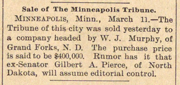 Sale Of The Minneapolis Tribune image