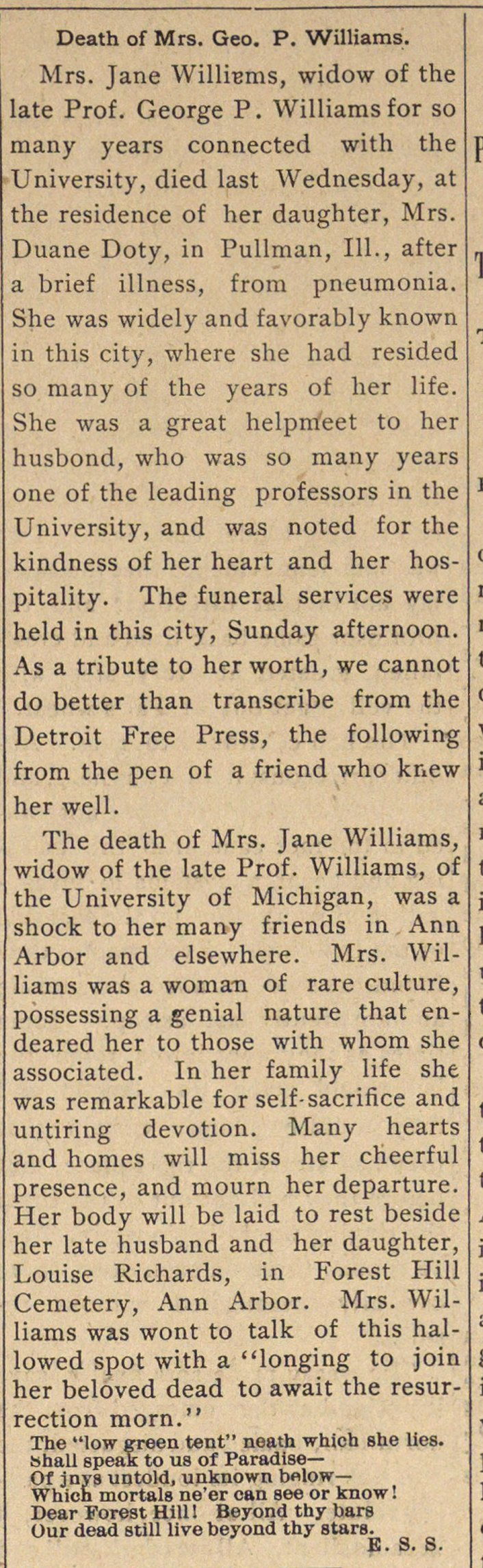 Death Of Mrs. Geo. P. Williams image
