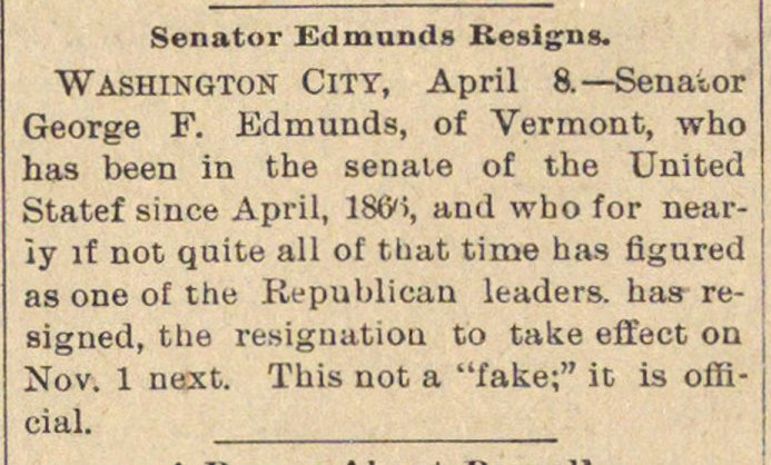 Senator Edmunds Resigns image