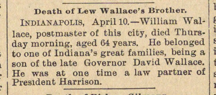Death Of Lew Wallace's Brother image