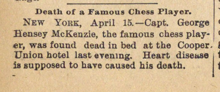 Death Of A Famous Chess Player image
