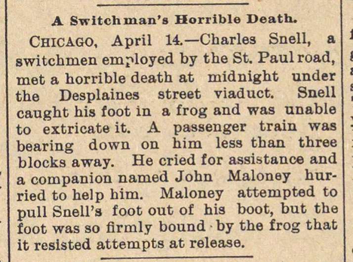 A Switchman's Horrible Death image