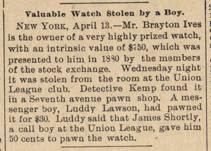 Valuable Watch Stolen By A Boy image