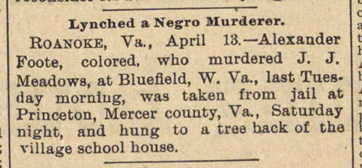 Lynched A Negro Murderer image