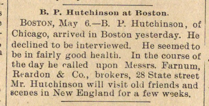 B. P. Hutchinson At Boston image