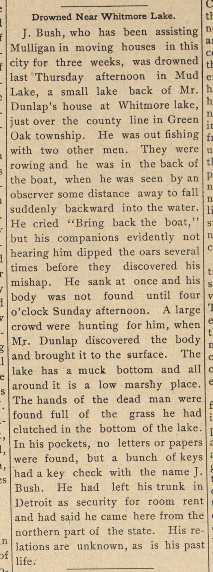 Drowned Near Whitmore Lake image