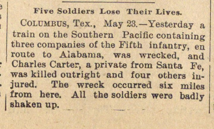 Five Soldiers Lose Their Lives image
