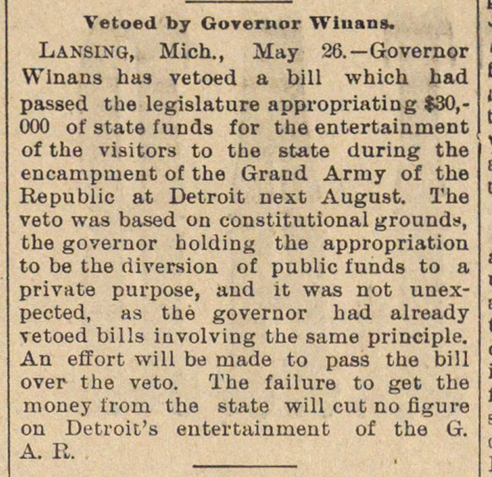 Vetoed By Governor Winans image