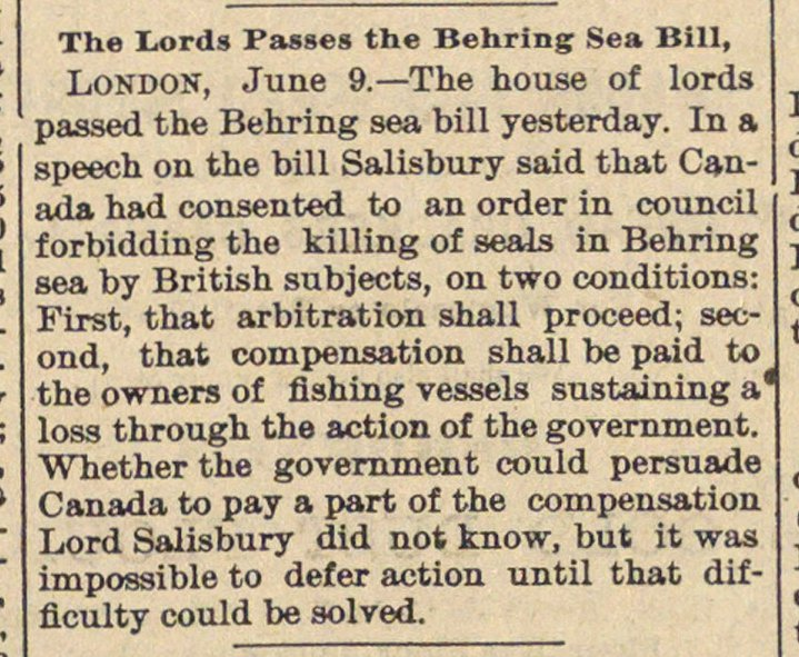 The Lords Passes The Behring Sea Bill image