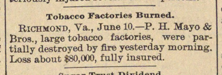 Tobacco Factories Burned image
