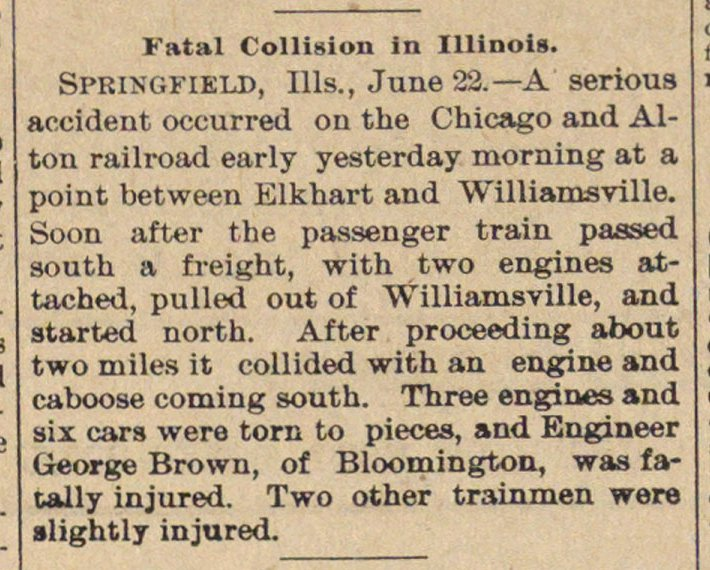 Fatal Collision In Illinois image
