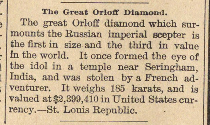 The Great Orloff Diamond image