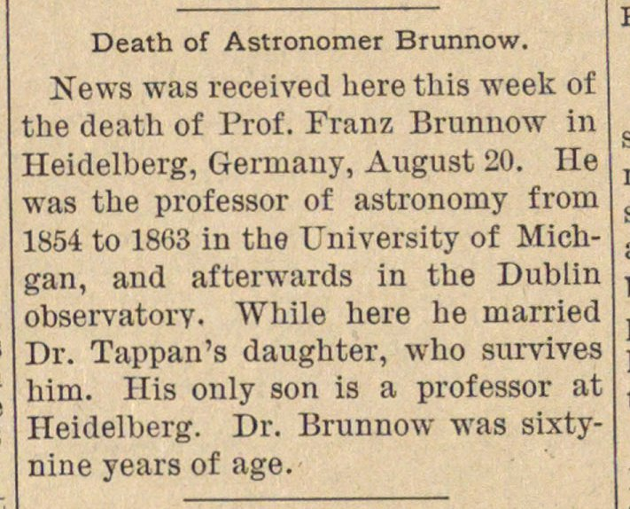 Death Of Astronomer Brunnow image