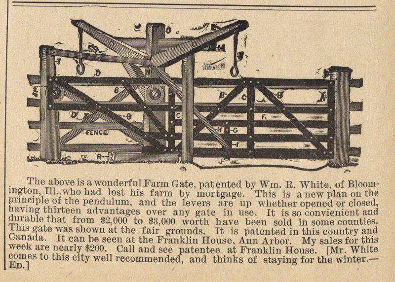 The Above Is A Wonderful Farm Gate, Patented By Wm. R. White image