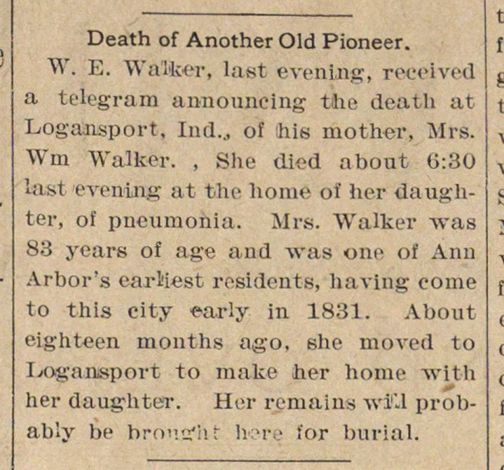 Death Of Another Old Pioneer image