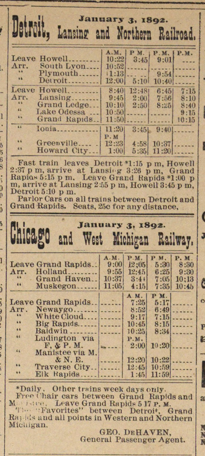 Detroit, January 3, 1892. Lansing And Northern Railroad image