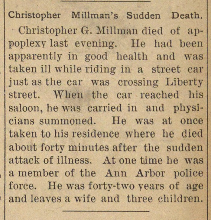 Christopher Millman's Sudden Death image