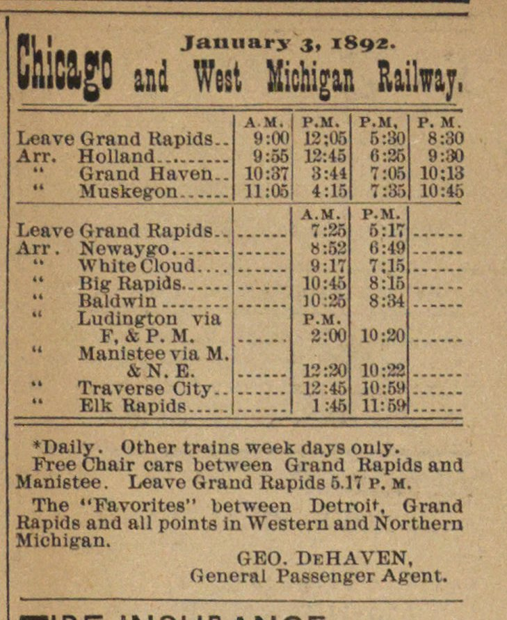 January 3, 1892. Chicago And West Michigan Railway image