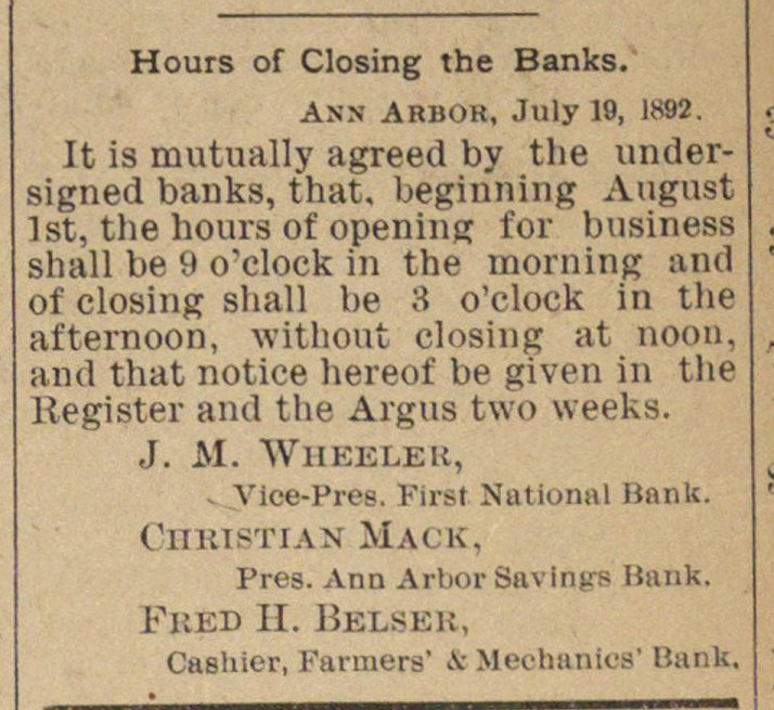 Hours Of Closing The Banks image