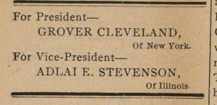 For President - GROVER CLEVELAND, Of New... image
