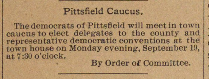 Pittsfield Caucus image