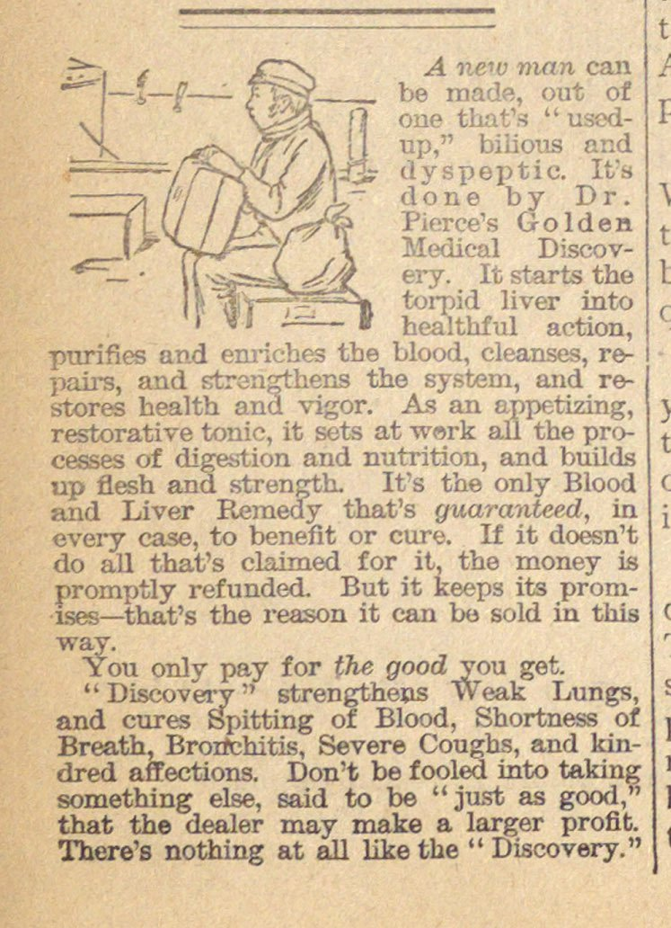 Classified Ad: Dr. Pierce's Golden Medical Discovery image