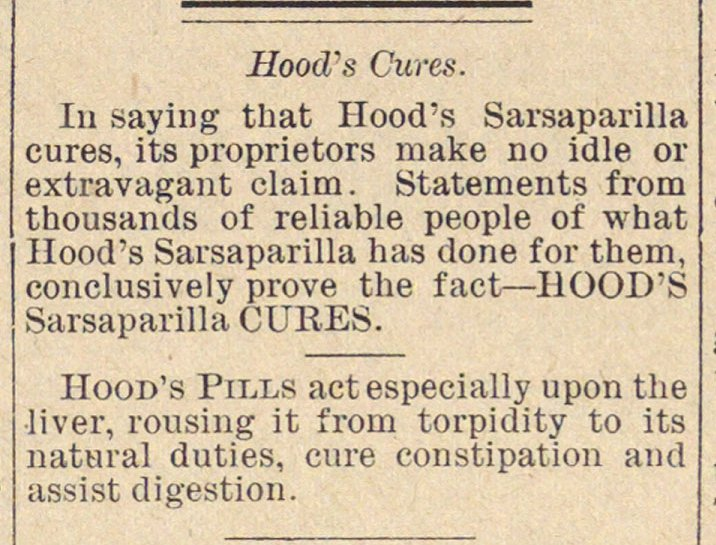 Classified Ad: Hood's Sarsaparilla image