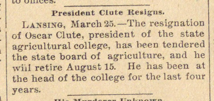 President Clute Resigns image