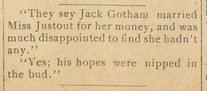 """They sey Jack Gotham married Miss Justo... image"