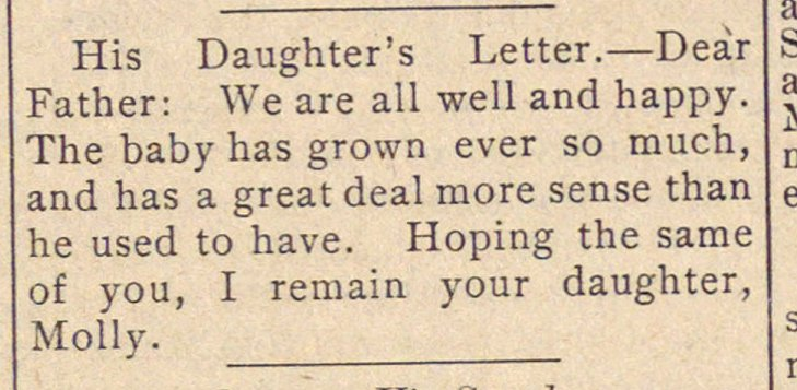 His Daughter's Letter. - Deár Father: W... image