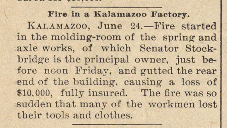 Fire In A Kalamazoo Factory image