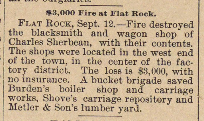 $3,000 Fire At Flat Rock image