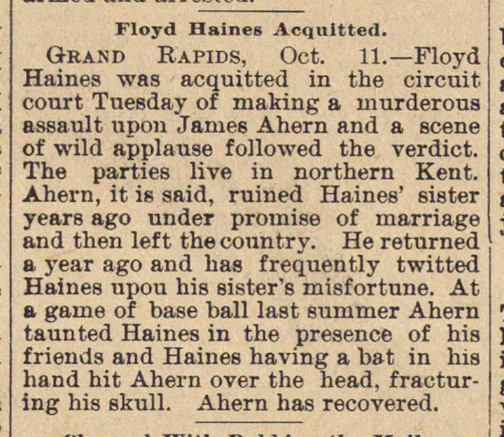 Floyd Haines Acquitted image