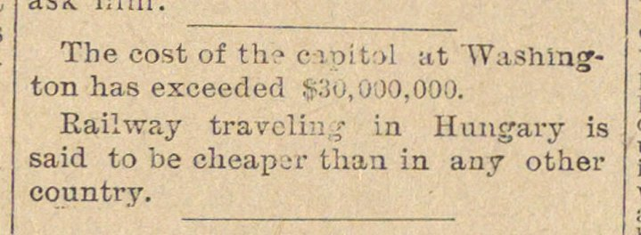 The cost of the capital :it 'Washington ... image